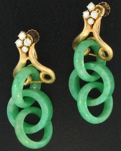 Continuous Triple Green Jade Ring Estate Earrings