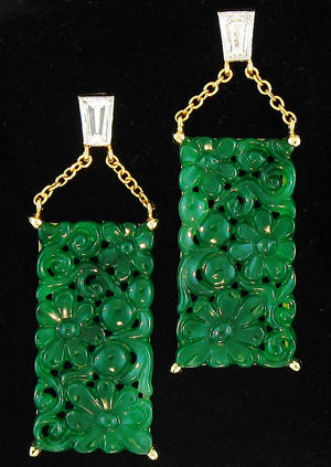 Fine Carved Green Jade Drop Earrings With Diamond Tops by Kristina Mason
