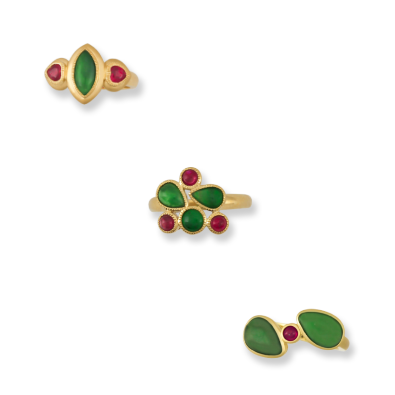 Natural Green Jade & Ruby Rings