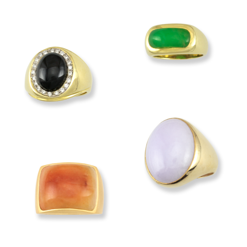 Natural Jade Men's Rings