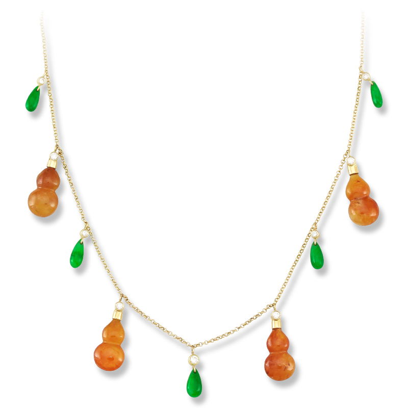 Natural Red Jade Gourds & Green Jade Tear Drop Necklace from Mason Kay Jade